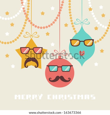 c6582a91ff7 Cute christmas decoration with mustache and glasses. Hipster winter holiday