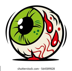 Vector comic illustration of horror Halloween eyeball