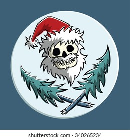 Vector comic pirat symbol: a skull with beard in Santa Claus hat with two crossed christmas trees. Square format.