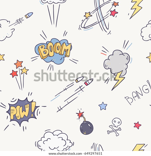 Vector comic sound effect collection seamless pattern. Bubble speech in pop art style. Retro comical book cartoon expression with texts
