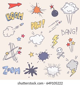 Vector comic sound effect set collection. Bubble speech in pop art style. Retro comical book cartoon expression with text like boom,pow, bang, zoom