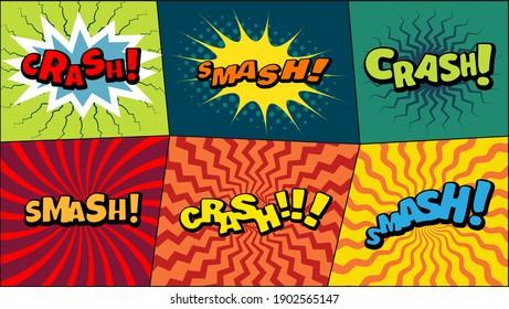 Vector comic speach bubble with prase  Crash, Smash  . Comic cartoon sound bubble speech set on colored background.