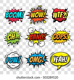 Vector comic speach bubble with prase Boom, Wow, WTF, Oh, Bang, Oops, Pow, OMG, Yeah. Comic cartoon sound bubble speech set on transparent background.
