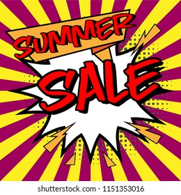 Vector of Comic Speech Bubble with summer sale text
