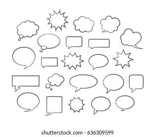 Vector comic speech bubbles collection. White copyspaces for dialogs or replicas. Empty dialog boxes, clouds, blasts.