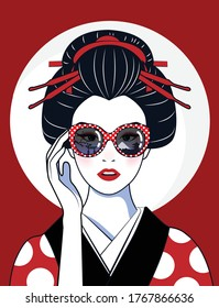 Vector comic style of portrait beautiful Japanese girl in kimono wear glasses that reflect the Tokyo culture symbols and landmarks. Vintage, illustration.