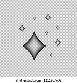 Vector Comics Effect: Transparent Diamond Shine, Isolated Illustration.