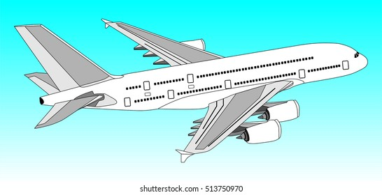 Vector Commercial Jet Aeroplane Flying in clear blue Sky travel and tourism concept passenger plane with out line of all parts cockpit body wings tail aircraft on the air useful for business