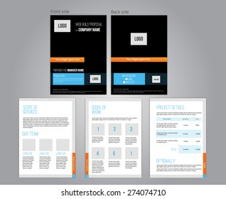 Vector commercial proposal design template for your business in dark colors. EPS10.