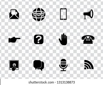 vector communication icons set - phone wireless network sign symbols, computer illustrations. web icons