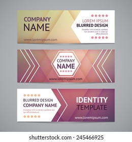 Vector company banners with blurred backgrounds. Identity templates