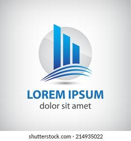 vector company building, line skyscrapper icon, logo isolated