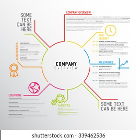 Vector Company infographic overview design template with thin line icons