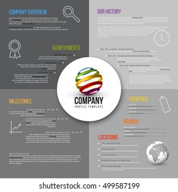 Vector Company infographic overview design template gray version with icons, shadows and nice typography
