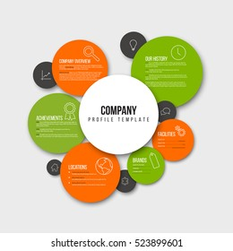 Vector Company infographic overview design template with content in the colorful circles - orange and green version