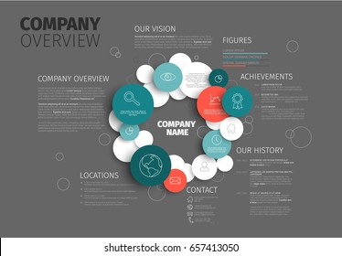 Vector Company infographic overview design template made from circles and icons - dark version