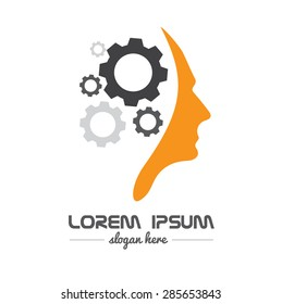 Vector company logo element template of human head brain shape with gears idea concept innovation genius