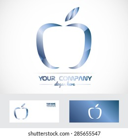 Vector company logo element template apple blue metal 3d abstract