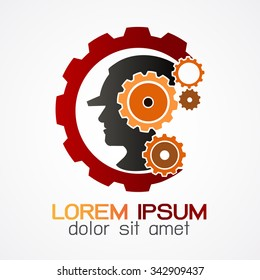 Vector company logo element template of Head in gears. Construction man head brain shape with gears idea concept innovation genius