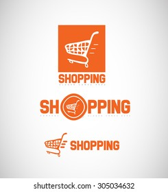 Vector company logo icon element template shopping cart online symbol set