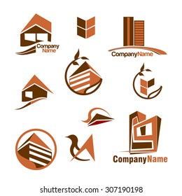 Vector company logo icon element template real estate set realty