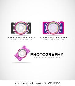 Vector company logo icon element template photo photography camera shutter aperture set photographer