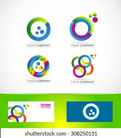 Vector company logo icon element template corporate business games media it colored circle set 3d
