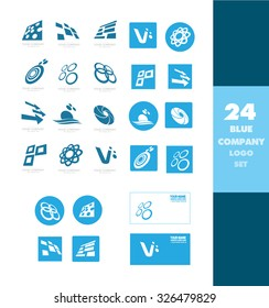 Vector company logo icon element template blue set abstract letter circle arrow atom sun square