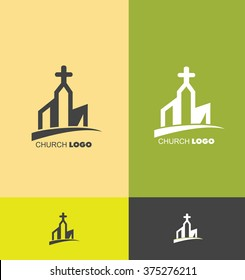 Vector company logo icon element template church building cross christian christianity evanghelical