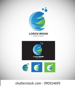 Vector company logo icon element template 3d sphere circle games media corporate business