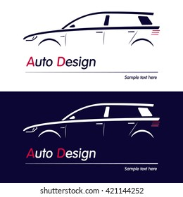 Vector company logo icon element template car contour shape sedan blue automobile service auto. Vector illustration.