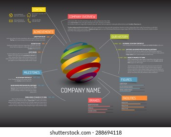 Vector Company overview design template - dark version