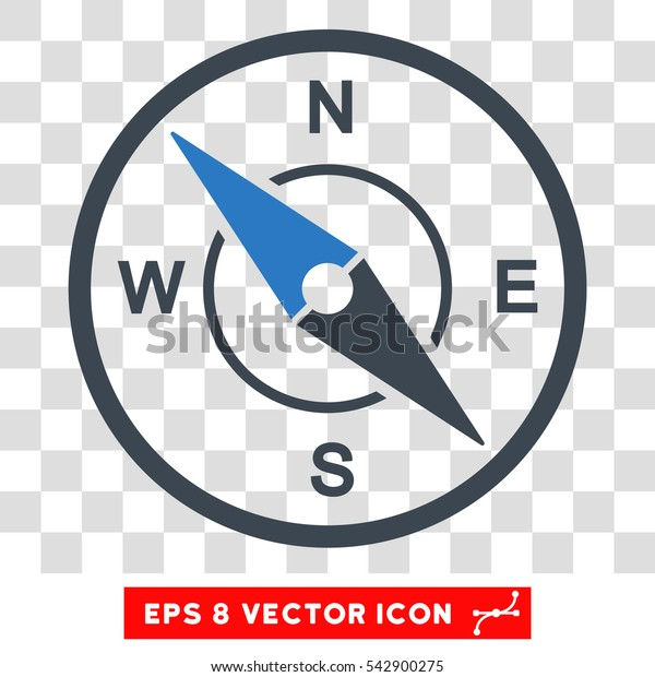 Vector Compass EPS vector icon. Illustration style is flat iconic bicolor smooth blue symbol on a transparent background.