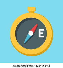 Vector compass icon. Compas illustration in flat minimalism style.