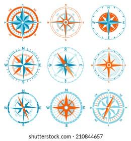 Vector compass icon set