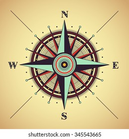 Vector compass rose, detailed illustration
