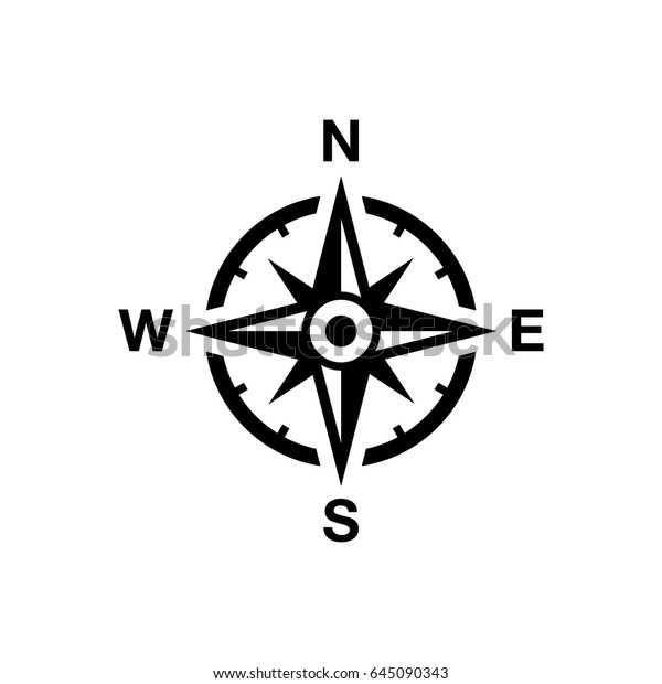 Vector compass rose with North, South, East and West indicated