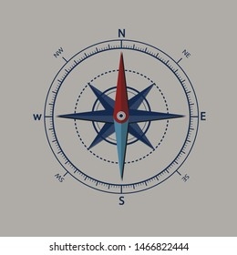 Vector compass rose on white background