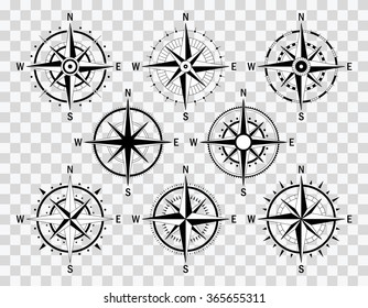 Vector compass set. Vector geo mark Wind Rose. Isolated vector Rose Wind. Rose Wind in lineal style. Image of Rose Wind for Columbus Day.