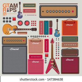 vector compilation guitar and amplifier