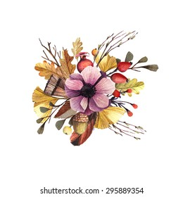 Vector composition with autumn leaves and fruits in a watercolor style. Beautiful autumn boutonniere with feathers, flowers and leaves. Autumn Bouquet.