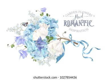 Vector composition with blue hydrangea, tulip flowers, butterfly and ribbon on white. Floral design for cosmetics, perfume, beauty care products. Can be used for greeting card, wedding invitation