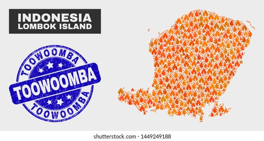 Vector composition of burn Lombok Island map and blue rounded scratched Toowoomba seal stamp. Fiery Lombok Island map mosaic of wildfire icons. Vector composition for emergency services,