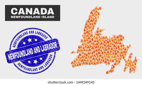 Vector composition of burn Newfoundland Island map and blue round distress Newfoundland and Labrador seal stamp. Orange Newfoundland Island map mosaic of flame items.