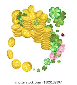 Vector composition with a clover leaves and flowers with splashes of gold coins and a ladybugs for the celebration of St. Patrick's Day. Transparent background
