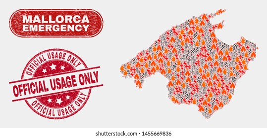 Vector composition of danger Mallorca map and red round distress Official Usage Only seal stamp. Emergency Mallorca map mosaic of fire, power flash elements. Vector composition for insurance services,