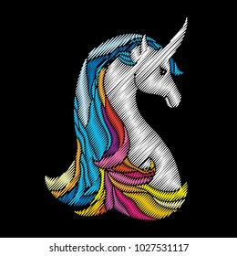 Vector composition with embroidery mythological white horse Unicorn isolated on black background. Ornate embroidered fantasy Unicorn for clothing decor, fabric and textile design.