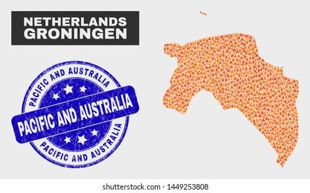 Vector composition of fire Groningen Province map and blue round textured Pacific and Australia seal stamp. Fiery Groningen Province map mosaic of wildfire elements.