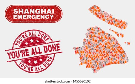 Vector composition of firestorm Shanghai City map and red round grunge You'Re All Done seal stamp. Emergency Shanghai City map mosaic of flame, power hazard elements.