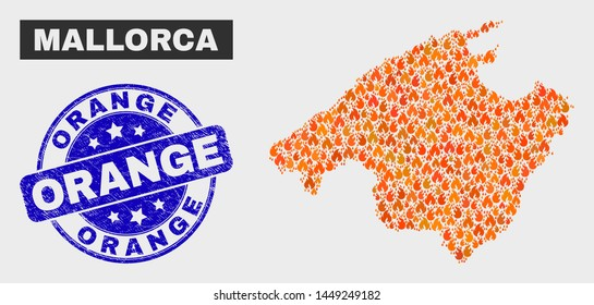 Vector composition of flame Mallorca map and blue rounded scratched Orange seal stamp. Orange Mallorca map mosaic of flame icons. Vector composition for insurance services, and Orange stamp.